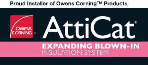 Installer of Owens Corning AttiCat expanding blown in insulation